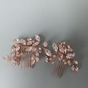 Swarovski crystal bridal comb rose gold